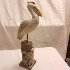 Pelican on pilings handmade wood bird